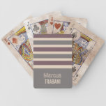 Stripes Pattern custom monogram playing cards