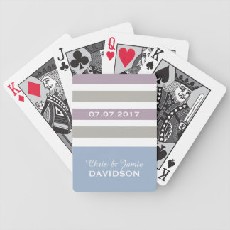 Stripes Pattern custom monogram playing cards