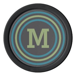 Stripes Pattern custom monogram poker chips