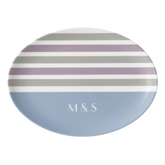 Stripes Pattern custom monogram porcelain platter