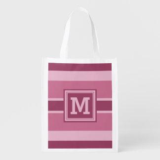 Stripes Pattern custom monogram reusable bag