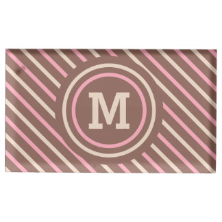 Stripes Pattern custom monogram table card holder