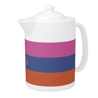 Stripes Pattern custom monogram teapots