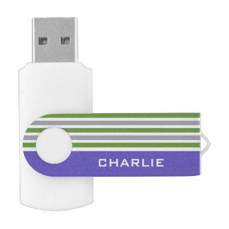 Stripes Pattern custom monogram USB drives