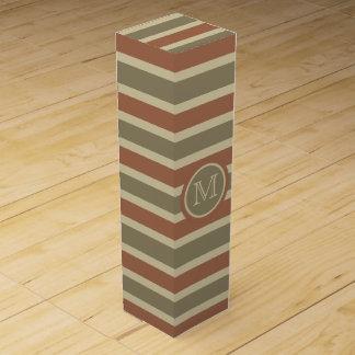 Stripes Pattern custom monogram wine gift box