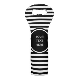 Stripes Pattern narrow black + your background Wine Bag