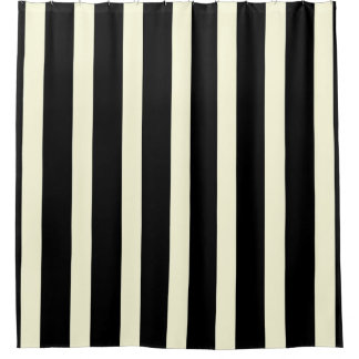 Captivating Stripes Pattern Two Tone Black Cream Shower Curtain