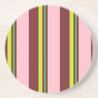 Stripes/Pink Burgundy Yellow & Lime Green Coaster