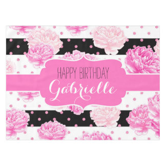 Stripes & Pink Floral Watercolor Happy Birthday Tablecloth