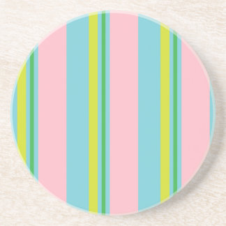 Stripes/Pink Light Blue Yellow & Lime Green Coaster