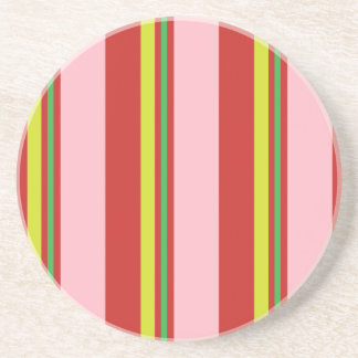 Stripes/Pink Red Yellow & Lime Green Coaster