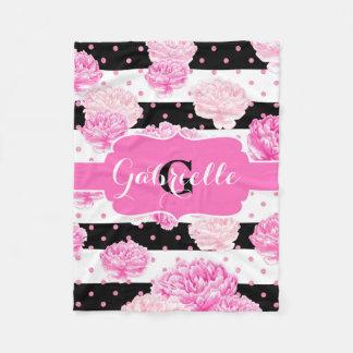 Stripes Pink Watercolor Floral Baby Girl Monogram Fleece Blanket