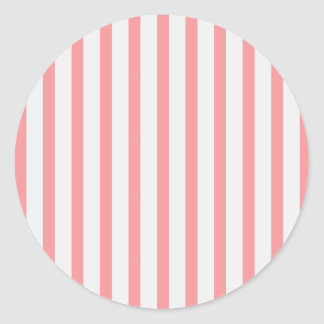 Stripes Pink & White Classic Round Sticker