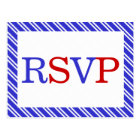 Stripes Red White Blue RSVP Postcard