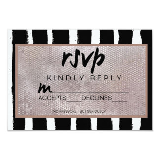 Stripes & Sequins Wedding RSVP Card 9 Cm X 13 Cm Invitation Card