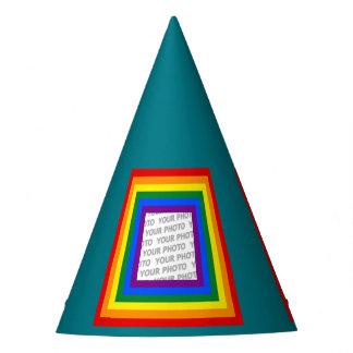 Stripes Square Frame RAINBOW + your idea Party Hat