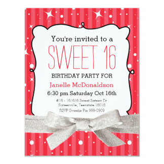 """Stripes Sweet 16 Birthday Party Bright Red 4.25"""" X 5.5"""" Invitation Card"""