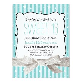 Stripes Sweet 16 Birthday Party Light Aqua 4.25x5.5 Paper Invitation Card