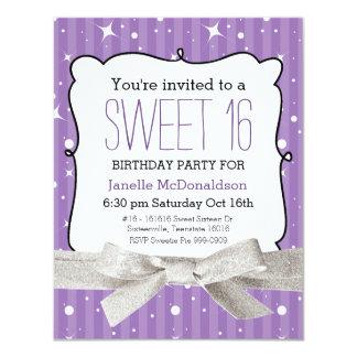 Stripes Sweet 16 Birthday Party Purple 4.25x5.5 Paper Invitation Card