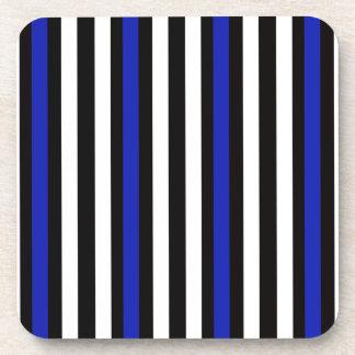 Stripes Vertical Blue Black White Coaster
