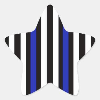 Stripes Vertical Blue Black White Star Sticker