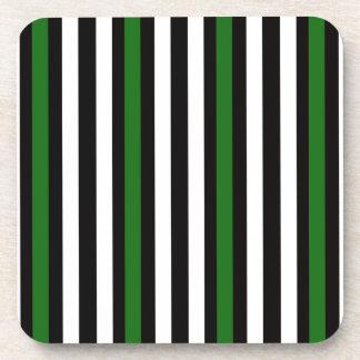 Stripes Vertical Green Black White Coaster