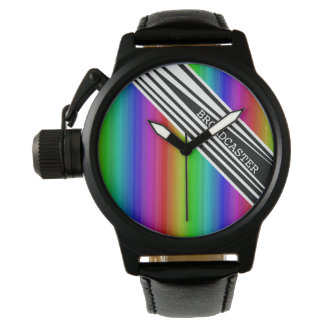 Stripes Vertical Hold Rainbow Frequency TV Bars Wristwatch