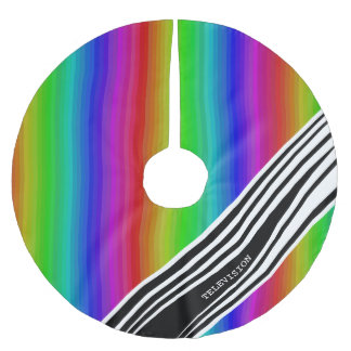 Stripes Vertical Hold Rainbow TV Color Bars Brushed Polyester Tree Skirt