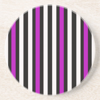 Stripes Vertical Purple Black White Coaster