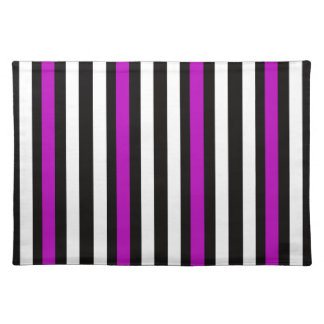 Stripes Vertical Purple Black White Placemat