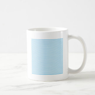 Stripes - White and Baby Blue Coffee Mugs