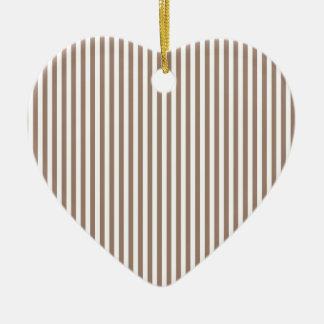 Stripes - White and Beaver Ceramic Heart Decoration
