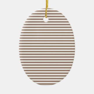 Stripes - White and Beaver Ceramic Oval Decoration