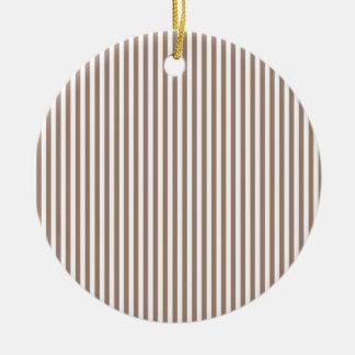 Stripes - White and Beaver Round Ceramic Decoration