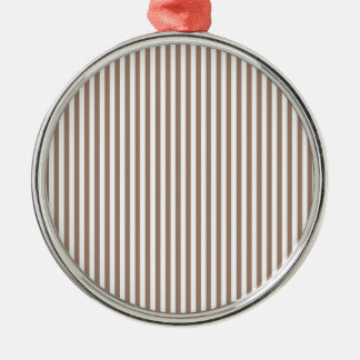 Stripes - White and Beaver Silver-Colored Round Decoration