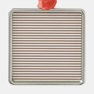 Stripes - White and Beaver Silver-Colored Square Decoration