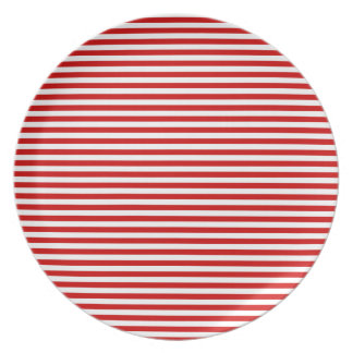 Stripes - White and BU Red Party Plates