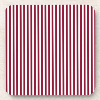 Stripes - White and Burgundy Beverage Coaster