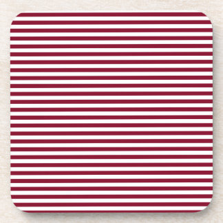 Stripes - White and Burgundy Drink Coasters