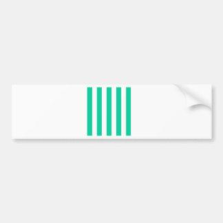 Stripes - White and Caribbean Green Bumper Sticker