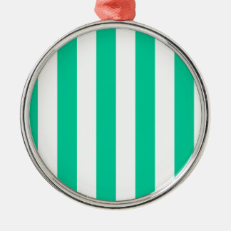 Stripes - White and Caribbean Green Ornaments