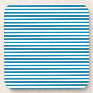 Stripes - White and Celadon Blue Beverage Coaster