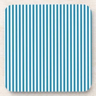 Stripes - White and Celadon Blue Drink Coasters