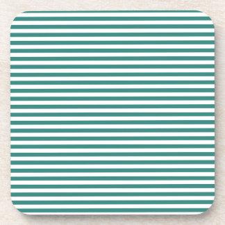 Stripes - White and Celadon Green Coaster
