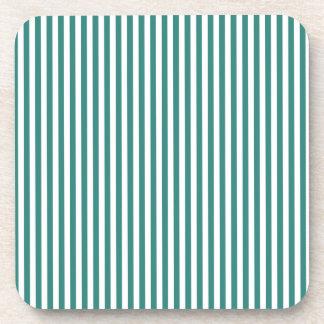 Stripes - White and Celadon Green Beverage Coasters