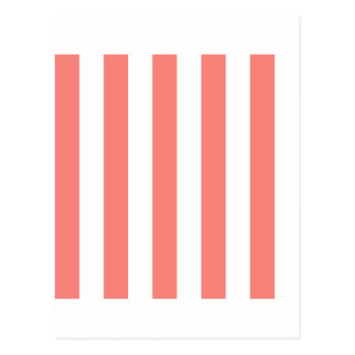 Stripes - White and Coral Pink Postcard