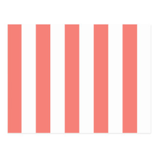 Stripes - White and Coral Pink Post Cards