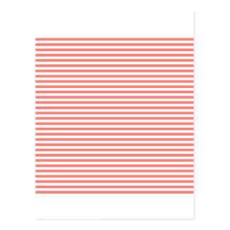 Stripes - White and Coral Pink Postcards