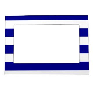 Stripes - White and Dark Blue Magnetic Frame