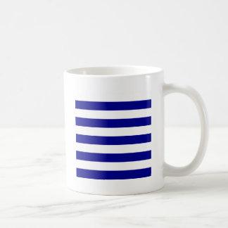 Stripes - White and Dark Blue Coffee Mugs